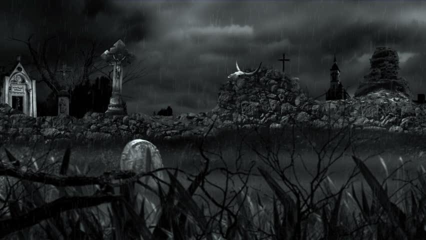 rural cemetery rain